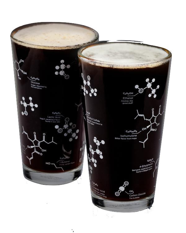 PINT GLASS S/2 CHEMISTRY OF BEER