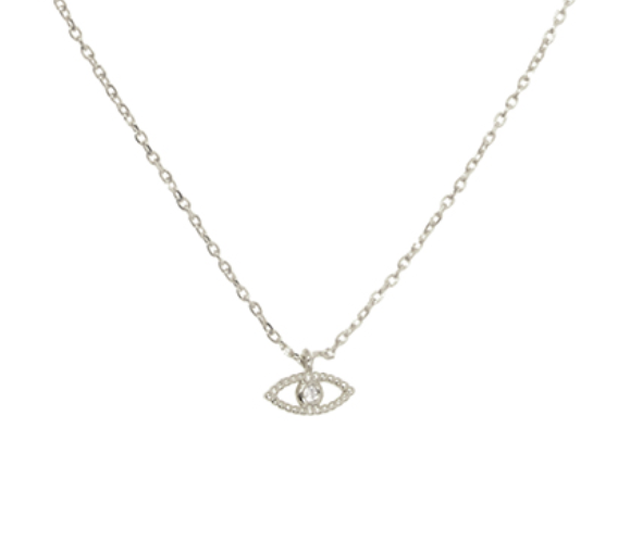NECKLACE: EVIL EYE (SILVER TONE)