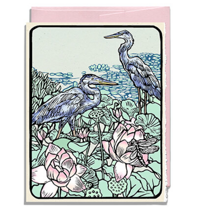 CARD BLUE HERON