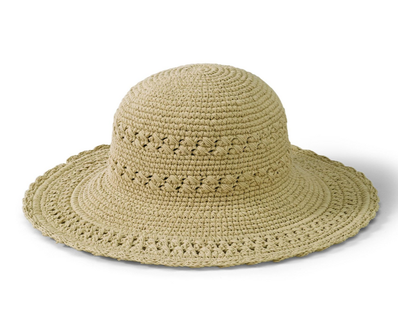 HAT CROCHET + SCALLOP BRIM, TAN