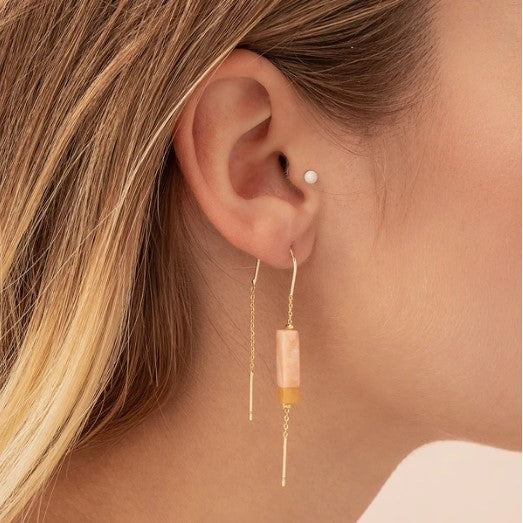 THREAD STONE EARRINGS, ROSE QUARTZ, AMBER & GOLD