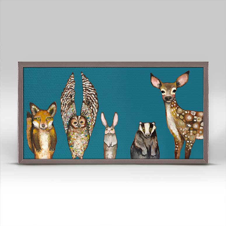 ART CANVAS 10X5IN FOREST ANIMAL TEAL