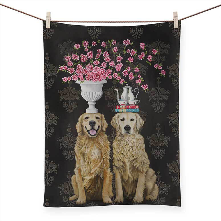 TEA TOWEL GOLDEN RETRIEVER PAIR