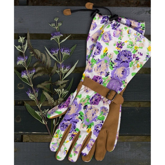 ARM SAVER GARDENING GLOVES - PURPLE FLORAL