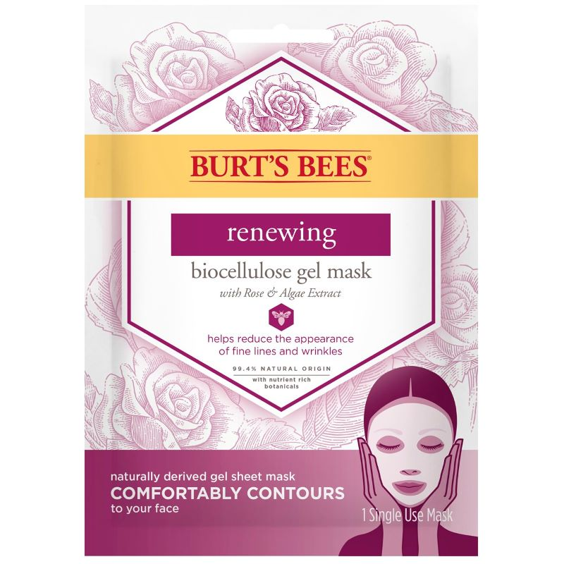 BURT'S BEES RENEWING BIOCELLULOSE GEL MASK WITH ROSE AND ALGAE EXTRACT