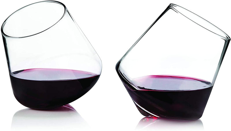 WINE ROLLING GLASS SET OF 2 CRYSTAL