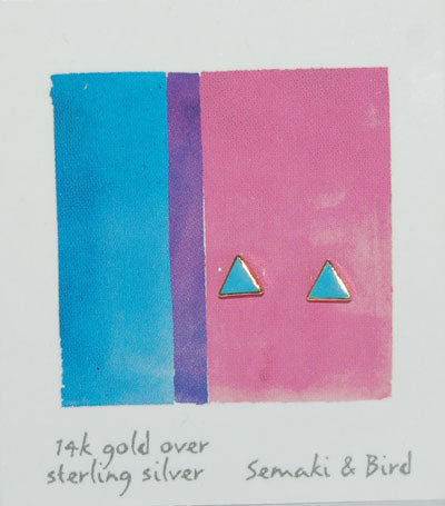EARRINGS: TRIANGLE STUD, TURQUOISE + GOLD