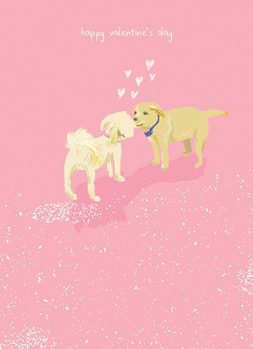 CARD PUPPIES KISSING
