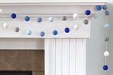 Blues, Gray, White Felt Ball Garland
