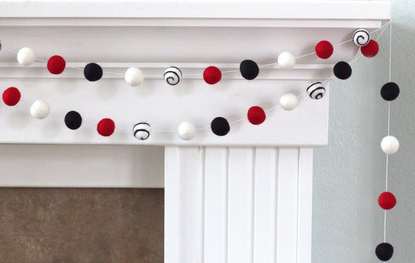 Santa Swirl Felt Ball Garland- Red, Black & White