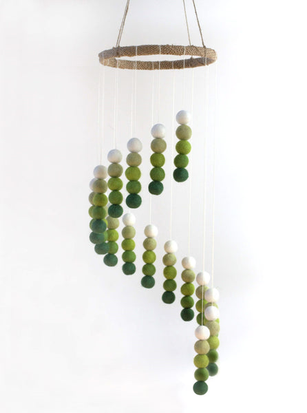 Spiral Felt Ball Mobile- Shades of Green
