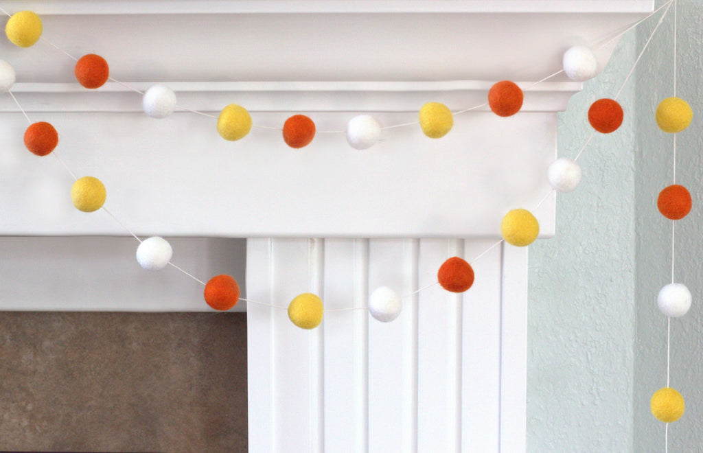 Fall Pom Pom Garland Candy Corn Orange Pom Poms Matthew Mae