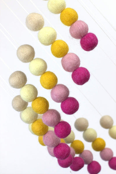 Spiral Felt Ball Mobile- Pink & Golden Yellow