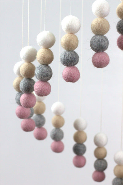 Spiral Felt Ball Mobile- Blush Pink, Gray, Almond & White
