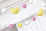 Pink Lemonade Felt Ball Garland- Yellow Pink