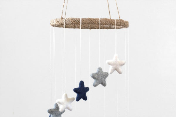 Spiral Felt Star Mobile in Navy Blue, Gray, White