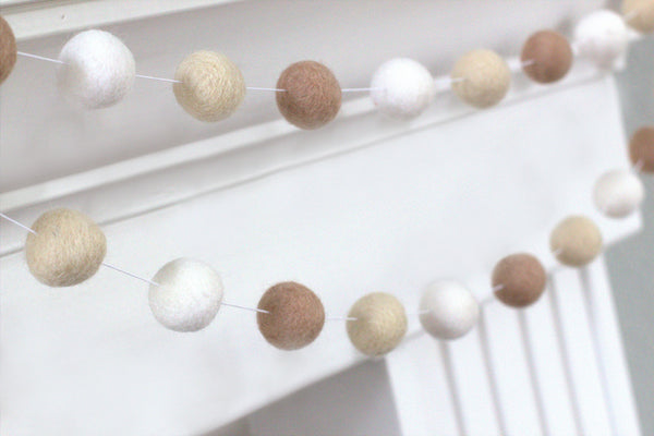 Neutral Felt Ball Garland- Tan Almond White