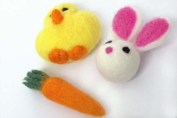 Felted Chick, Bunny, Carrot- Wool Felt Spring Easter Shapes- 100% Wool