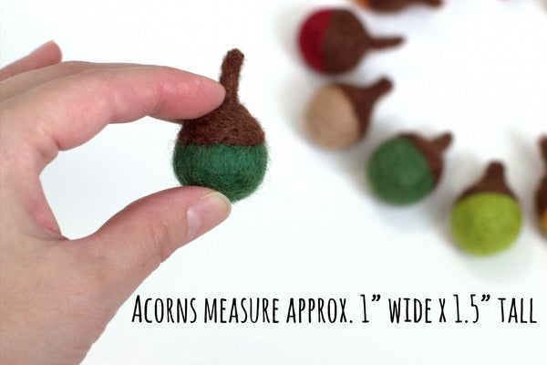 Felted Acorns- Wool Felt Acorns for Fall Autumn Thanksgiving WInter Christmas