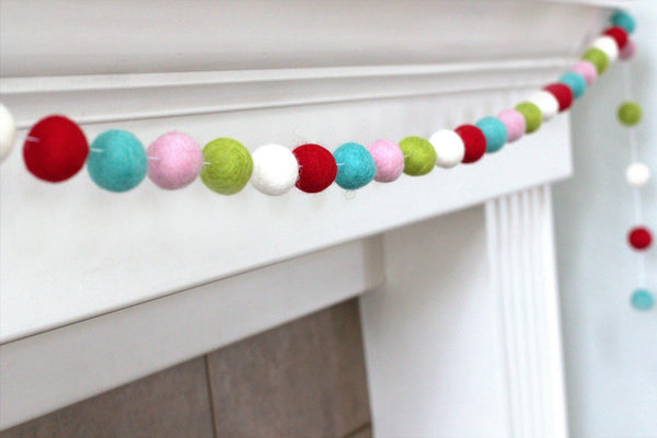 Red Turquoise Pink Lime White Christmas Felt Ball Garland