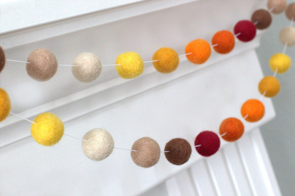 Autumn Felt Ball Garland- Ombre Burgundy Orange Gold Tan Brown