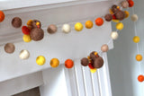 Thanksgiving Felt Ball and Turkey Garland- Autumn Fall- Brown Orange