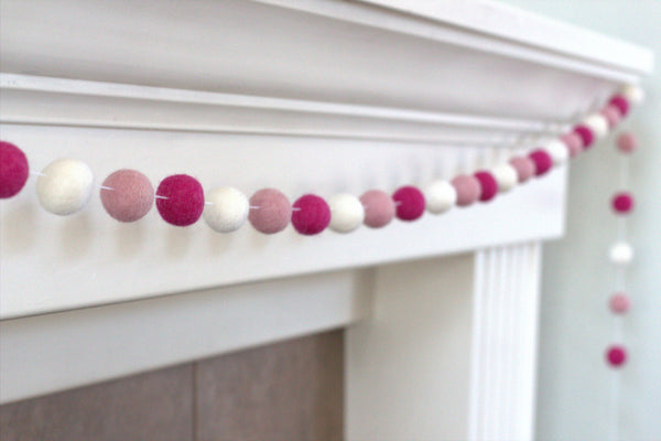 Berry, Blush Pink & White Felt Ball Garland