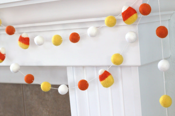 Candy Corn Felt Ball Garland- Orange , Golden Yellow, White- Pom Pom- Fall Autumn Halloween Trick or Treat Decor