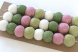 Pink, Green & White Spring Felt Ball Garland