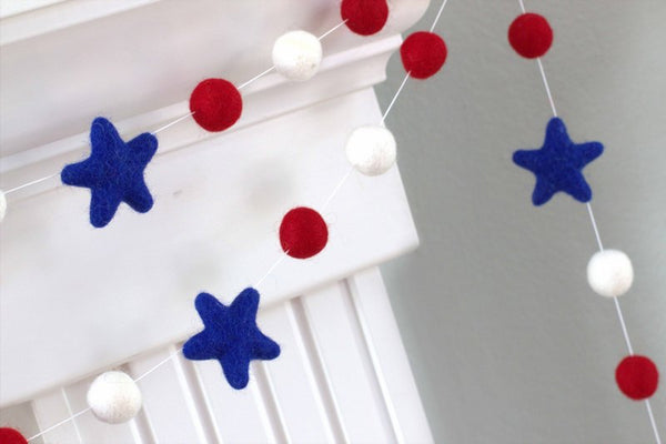 Red, Royal Blue, White Felt Garland with Royal Blue Felt Stars