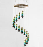 Spiral Felt Ball Nursery Ceiling Mobile- Brown, Turquoise, Lime Green, Almond