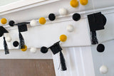"Graduation Cap Felt Ball Garland- Black Gold White with BLACK tassels - 1"" (2.5 cm) Wool Felt Balls- Graduation Hat Party Decor Banner…"