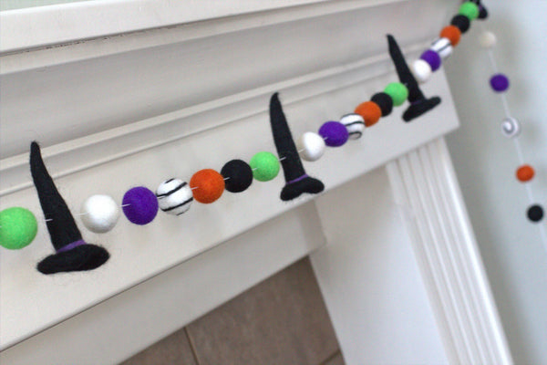 Halloween Witch Hat Felt Ball Garland- Black Purple Green Orange White Swirl- Pom Pom- Fall Autumn Trick or Treat Decor