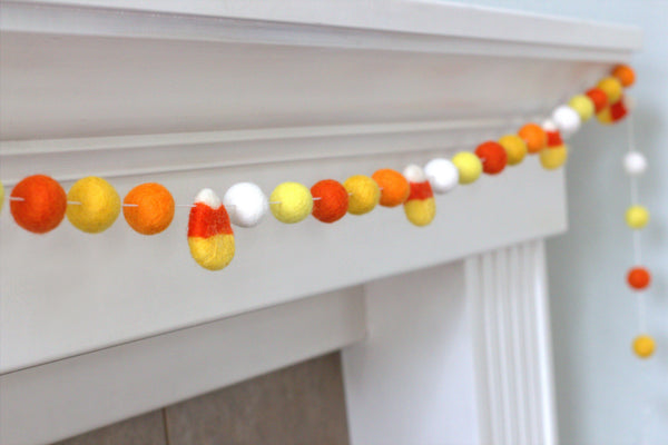 Candy Corn Felt Ball Garland- Oranges & Yellows- Pom Pom- Fall Autumn Halloween Trick or Treat Decor