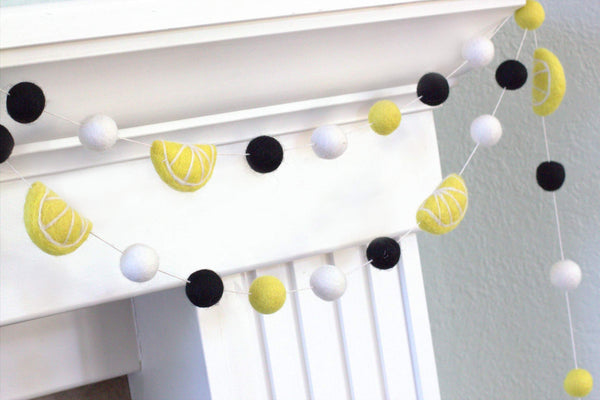 Lemon Felt Ball Garland- Yellow, Black & White- Lemonade Stand Summer Decor