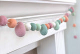 Easter Egg & Ball Felt Garland- Eggs & Balls in Blush Pink, Teal, Seafoam, Peach