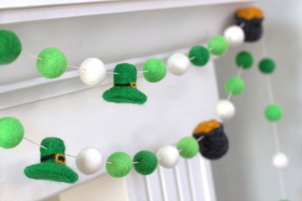 St. Patrick's Day Pot of Gold & Leprechaun Felt Ball Garland- Green & White
