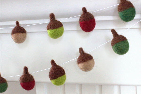 Felt Acorn Garland- Red & Green- Christmas Winter Holiday Decor