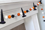 Halloween Witch Hat Felt Ball Garland- Black Orange White Swirl- Pom Pom- Fall Autumn Trick or Treat Decor