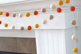 Orange & Tan Fall Felt Ball Garland