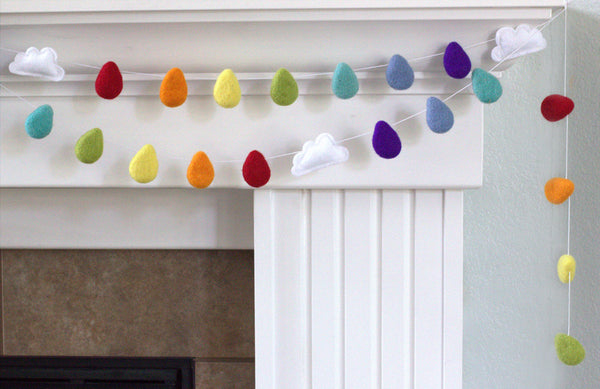 Rainbow Raindrop & Cloud Felted Garland