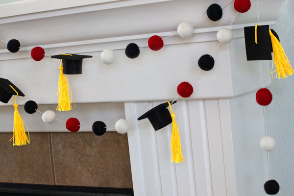 "Graduation Cap Felt Ball Garland- Red Black White with GOLD tassels - 1"" (2.5 cm) Wool Felt Balls- Graduation Hat Party Decor Banner…"