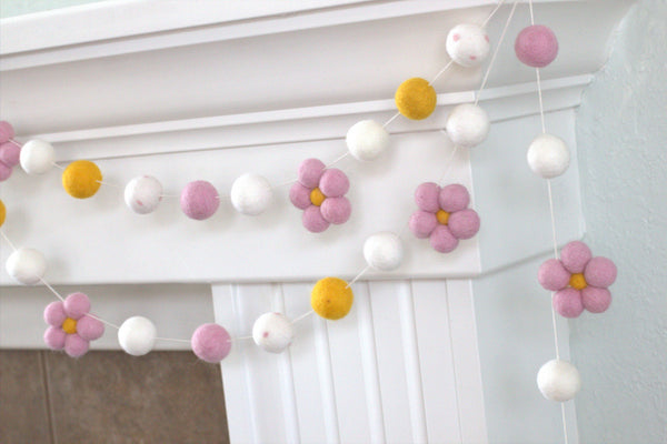 Felt Daisy Garland- Golden, White with Baby Pink Daisies- Spring Summer Easter- 100% Wool