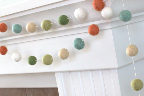 Green, Blue, Neutrals Easter Spring Felt Ball Garland