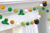Pot of Gold & Leprechaun St. Patrick's Day Felt Ball Garland- Gold & Shades of Green