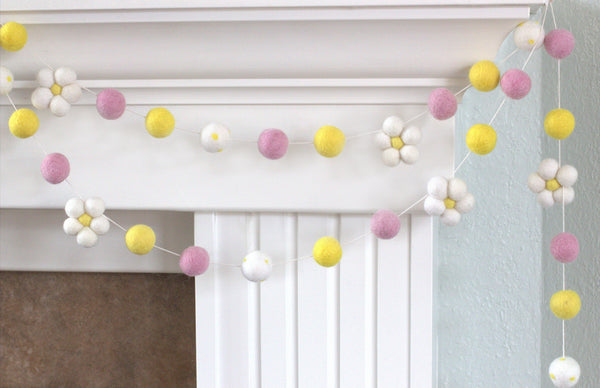 Felt Daisy Garland- Baby Pink, Yellow with White Daisies- Wool Felted Flowers and Balls- Spring Summer Easter Pom Pom Banner- 100% Wool