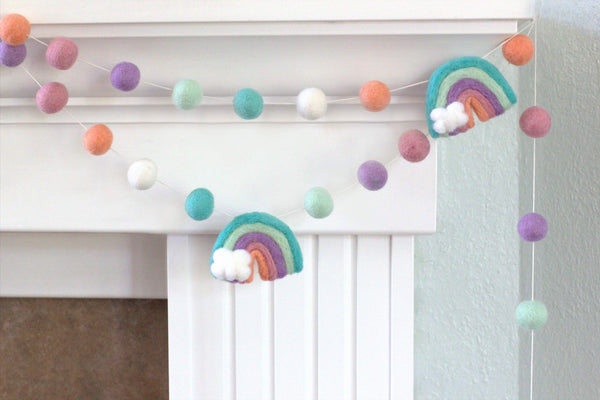 Rainbow Felt Ball Garland - Muted Pastels Pink Peach Lavender- Wool Felt Balls- Clouds- Playroom Nursery Children's Room Decor