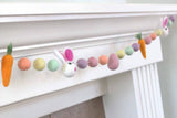 Bunny, Egg & Carrot Easter Felt Ball Garland- Pastel Rainbow