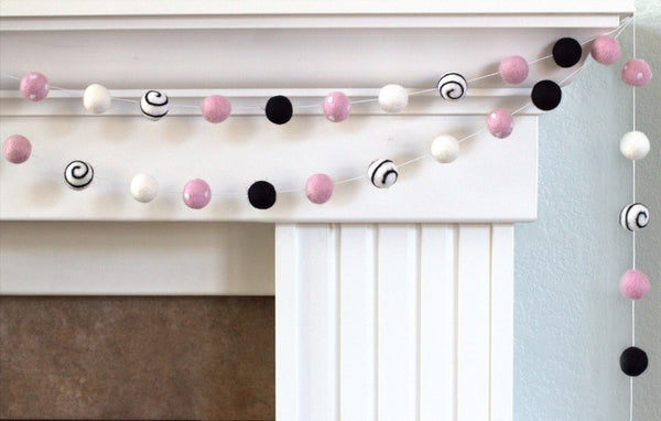 Felt Ball Garland- Swirls & Dots in Black, Baby Pink, White