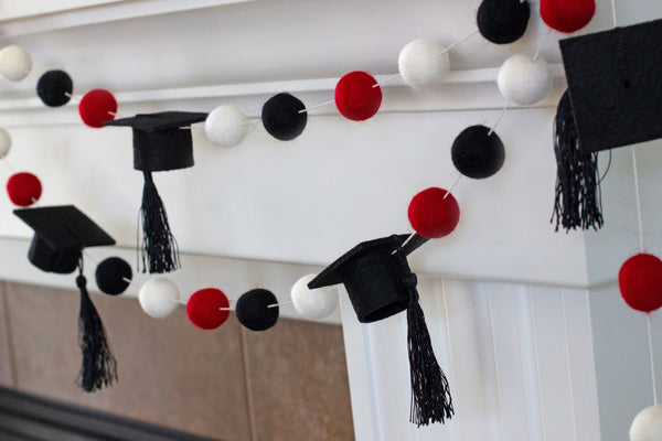 "Graduation Cap Felt Ball Garland- Red Black White with BLACK tassels - 1"" (2.5 cm) Wool Felt Balls- Graduation Hat Party Decor Banner…"